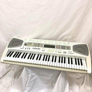 中古 CASIO カシオ 電子キーボード LK-58 61鍵盤 光ナビゲーション 電子ピアノ ホワイト グリーン 鍵盤楽器 アダプター付き H15810