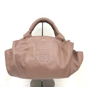 美品 LOEWE ロエベ ハンドバッグ ミニ ナッパアイレ アナグラム ピンクベージュ系 レザー 手持ち鞄 スペイン製 RYB9900