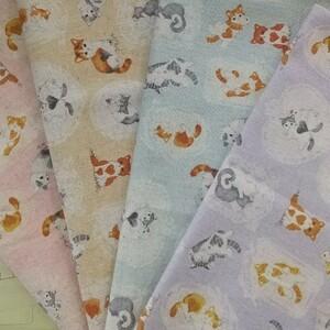 綿麻キャンバス生地 ハート猫柄  4色セット