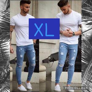 XL メンズ ライトブルー デニム ダメージジーンズ スキニーパンツ ジーンズ スキニー パンツ カッコイイ オールシーズン