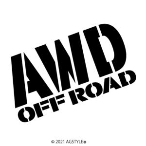 ゆうパケット送料無料 AWD OFF ROAD オリジナル カッティングステッカー JDM USDM SUV HDM 4WD オフロード クロカン アウトドア 北米