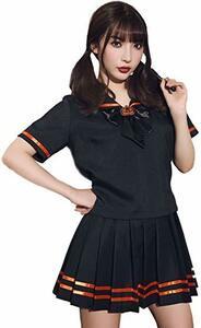 ブラック M [ブライトララ] ハロウィン コスプレ セーラー服 コスチューム 仮装 衣装 制服 大人 女子高生 学生服