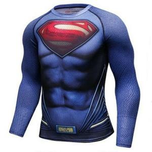 新品 メンズ XL スーパーマン アメコミ 3D 長袖 ストレッチ Tシャツ スポーツ コンプレッション ジム
