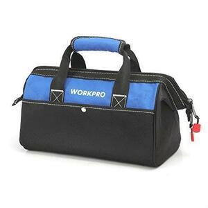 !- WORKPRO ツールバッグ 工具差し入れ 道具袋 工具バッグ 大口収納 600Dオックスフォード ワイドオープン 幅33cm