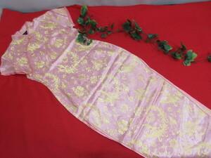 (6H8098(1))BODY LINE チャイナドレス ピンク×ゴールド 両サイドスリット サイズ:36(S) 衣装/キャバクラ/コスプレ スリット