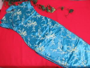 (6H8100)BODY LINE チャイナドレス ブルー×ゴールド 両サイドスリット サイズ:36(S) 衣装/キャバクラ/コスプレ チャイナ