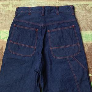 Концентрированный  темно-синий   [ BIG MAC ] 60s Denim Work Pants / 60 год  поколение   Большой  макинтош   Denim   WORK  брюки   Художник брюки   сбор винограда   Vintage  50s70s