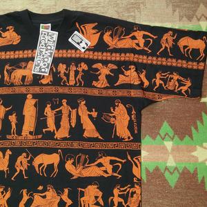 DEAD-STOCK 【wildwood productions】90s Greek All Over Print T-Shirt 90年代 ワイルドウッド プロダクションズ 総柄 Tシャツ ビンテージ