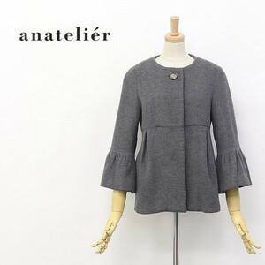 ◆anatelier/アナトリエ フレアスリーブ 七分袖 タック入り ノーカラー ウール ショート コート グレー 38