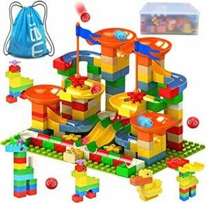 Jiudam ビーズコースター 知育玩具 スロープ ルーピング セット 子供 組み立 DIY 積み木 男の子 女の子 誕生日の