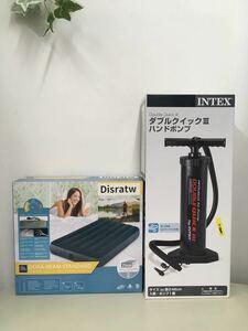 【未使用】 エアーベッド シングルサイズ&INTEXダブルクイック ハンドポンプ