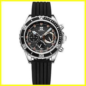 腕時計、メンズ腕時計 ブラック スポーツ ファッション クロノグラフ 多機能 日付表示 防水 アウトドア アナログクォーツ 時計