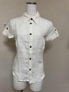 セール DIESELディーゼル 背中刺繍 半袖リネンシャツS