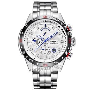 ★メンズ高級腕時計 機械式 自動巻き 45mm 多機能 カレンダー 曜日表示 紳士ウォッチ 夜光 防水 男性 おしゃれ ホワイト◇
