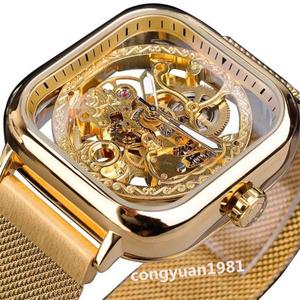 新作★ メンズ高級腕時計 機械式 自動巻き スケルトンデザイン スクエア 紳士ウォッチ 夜光 防水 男性 カジュアル ゴールド