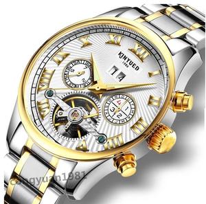 ★★ メンズ腕時計 高級機械式 自動巻き カレンダー 曜日表示 トゥールビヨン 男性ウォッチ 文字盤 夜光 防水 紳士 ホワイト