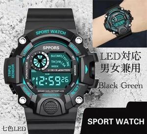 スポーツ腕時計 腕時計 時計 デジタル式 LED デジタル腕時計 デジタル 自転車 スポーツ アウトドア キャンプ ブラック グリーン 21
