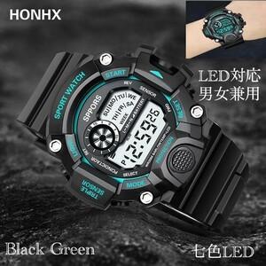 スポーツ腕時計 腕時計 時計 デジタル式 LED デジタル腕時計 デジタル 自転車 スポーツ アウトドア キャンプ ブラック グリーン 22