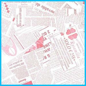 【送料無料-最安】 おしゃれでかわいいデザイン お花/プレゼント/ギフト ラッピングペーパー ★色:ピンク★ 【フジパック】 英字新聞紙柄