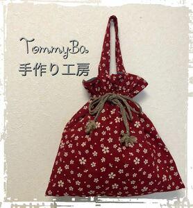 ハンドメイド 巾着バッグ 巾着袋 リバーシブル 紬を使った贅沢和柄巾着 TommyBa手作り工房