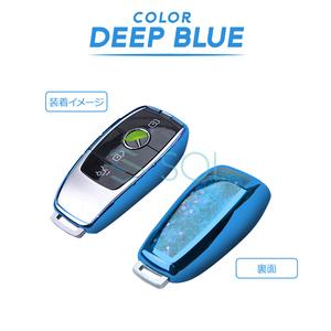 送料198円 ベンツ W118 X118 H247 X247 X253 C253 W167 X167 W257 C257 X290 ソフトキーカバー キーケース ブルー ラメ入 ポリウレタン製