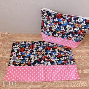 ハンドメイド 2点セット ディズニー Disney ミッキー ミニー デイジー 入園 入学 お弁当袋 ランチョンマット  巾着袋