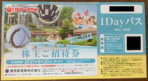 東京サマーランド 株主ご招待券 入園券 入場券 1Dayパス フリーパス券 9月30日期限