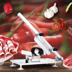 家庭用 野菜も切れる 半自動ミートスライサー 業務用 自動送り出し手動肉切り機 冷凍肉スライス オールステンレス H2154n