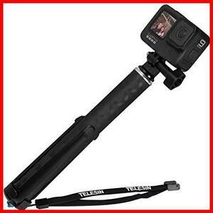 TELESIN 自撮り棒三脚、拡張可能な 90cm 炭素繊維軽量自撮り棒一脚、GoPro Max Hero 9 8 7 6 5 4、DJI Osmo Action