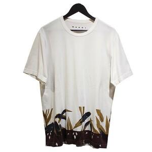 青山)MARNI マルニ 17SS 裾プリント クルーネック Tシャツ 8073000077589
