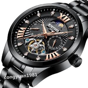 【1円~】メンズ高級腕時計 機械式 自動巻き 43mm 新品 トゥールビヨン サン&ムーン ダイヤ ステンレス 紳士ウォッチ ブラック