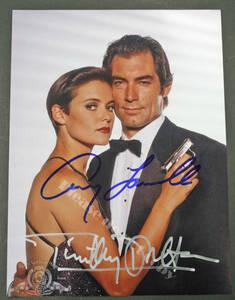 1989年 公開 映画 シリーズ第16作 007 消されたライセンス ティモシー・ダルトン & キャリー・ローウェル ダブル 直筆 サイン フォト