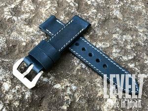 【ラグ幅24MM】パネライスタイル/Panerai style オイル スムースレザー ブルー/ホワイトステッチ ヌメ革 バックル付き 腕時計 替えベルト