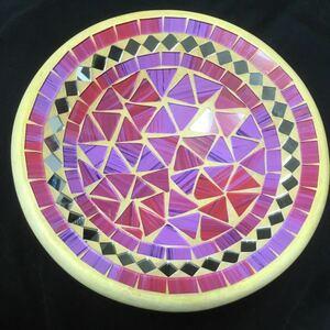 インドネシア製モザイクトレイ アクセサリー小物入れ鏡ミラー土器陶器粘土割れ物