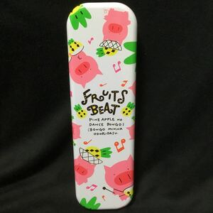 ブタさん柄 缶ペンケース  2段筆箱ぶた豚昭和レトロ