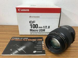 Canon キャノン CANON MACRO LENS EF 100mm 1:2.8 USM ULTRASONIC オートフォーカス 中古品 箱付き 説明書付属