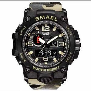 【1円スタート!】最落なし!海外人気ブランド SMAEL S-SHOCK アーミーseries メンズ高品質腕時計 防水 アナログ&デジタル Aカーキ♪人気1