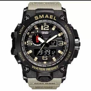 【1円スタート!】最落なし!海外人気ブランド SMAEL S-SHOCK アーミーseries メンズ高品質腕時計 防水 アナログ&デジタル カーキ♪人気1
