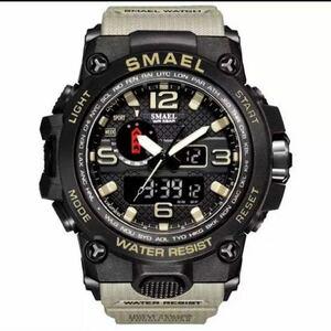 【1円スタート!】最落なし!海外人気ブランド SMAEL S-SHOCK アーミーseries メンズ高品質腕時計 防水 アナログ&デジタル カーキ♪人気
