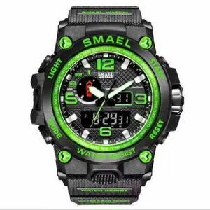 【1円スタート!】最落なし!海外人気ブランド SMAEL S-SHOCK アーミーseries メンズ高品質腕時計 防水 アナログ&デジタル グリーン♪人気