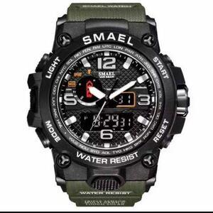 【1円スタート!】最落なし!海外人気ブランド SMAEL S-SHOCK アーミーseries メンズ高品質腕時計 防水 アナログ&デジタル Bグリーン ♪1