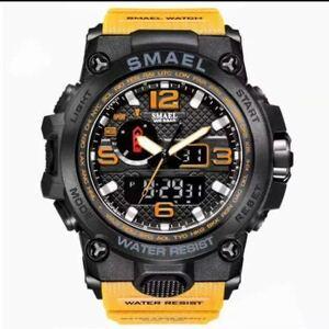 【1円スタート!】最落なし!海外人気ブランド SMAEL S-SHOCK アーミーseries メンズ高品質腕時計 防水 アナログ&デジタル オレンジ♪1