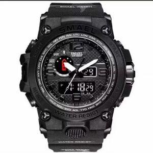 【1円スタート!】最落なし!海外人気ブランド SMAEL S-SHOCK アーミーseries メンズ高品質腕時計 防水 アナログ&デジタル 迷彩ブラック♪