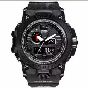 【1円スタート!】最落なし!海外人気ブランド SMAEL S-SHOCK アーミーseries メンズ高品質腕時計 防水 アナログ&デジタル 迷彩ブラック♪1