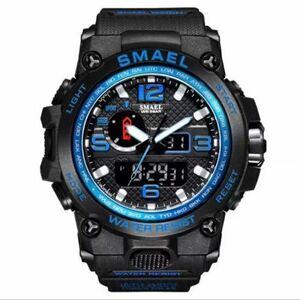 【1円スタート!】最落なし!海外人気ブランド SMAEL S-SHOCK アーミーseries メンズ高品質腕時計 防水 アナログ&デジタル Bブルー♪