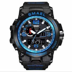 【1円スタート!】最落なし!海外人気ブランド SMAEL S-SHOCK アーミーseries メンズ高品質腕時計 防水 アナログ&デジタル Bブルー♪1
