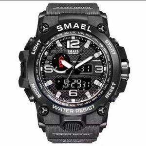 【1円スタート!】最落なし!海外人気ブランド SMAEL S-SHOCK アーミーseries メンズ高品質腕時計 防水 アナログ&デジタル Bグレー ♪人気