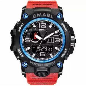 【1円スタート!】最落なし!海外人気ブランド SMAEL S-SHOCK アーミーseries メンズ高品質腕時計 防水 アナログ&デジタル Bレッド♪人気