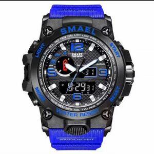 【1円スタート!】最落なし!海外人気ブランド SMAEL S-SHOCK アーミーseries メンズ高品質腕時計 防水 アナログ&デジタル ブルー♪人気1