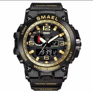 【1円スタート!】最落なし!海外人気ブランド SMAEL S-SHOCK アーミーseries メンズ高品質腕時計 防水 アナログ&デジタル Bゴールド♪
